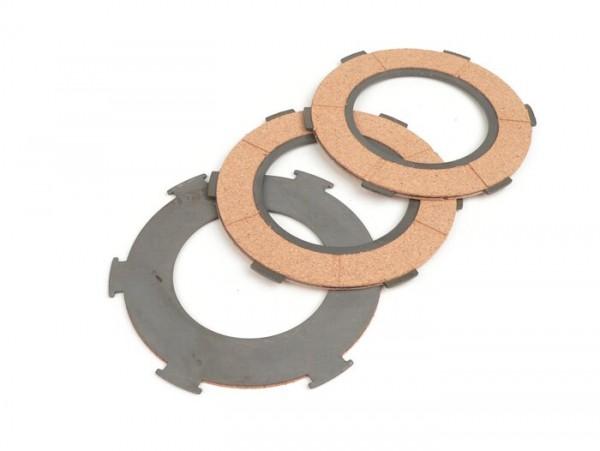 Clutch friction plate set -BGM ORIGINAL Vespa type 6 springs (PX80, PX125, PX150)- 3 plates