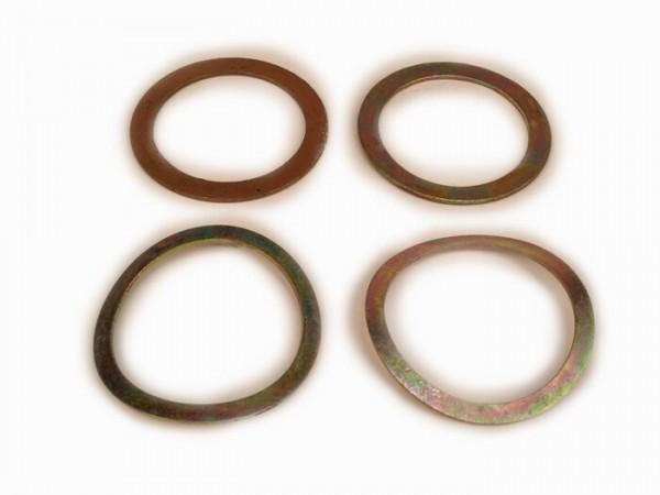 Kit arandelas y arandelas elásticas para tubo mando gas/cambio, 4 piezas -MADE IN INDIA Ø=24mm- Vespa PX, T5 125cc, Rally180 (VSD1T), Rally200 (VSE1T), Sprint150 (VLB1T), TS125 (VNL3T), GT125 (VNL2T), GTR125 (VNL2T), Super, V50, V90, SS50, SS90, PV12