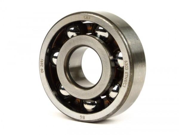 Kugellager Kurbelwelle -MALOSSI- 6303 (17x47x14mm) - C3 Polyamid - (verwendet für Kurbelwelle Antriebseite Vespa V50, V90, PV125, ET3, PK S, PK XL, Lambretta Lui, J, Minarelli AM 3 - 4 - 5 - 6)