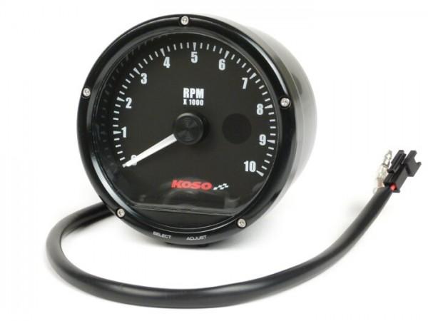 Cuentarrevoluciones -KOSO analógico, 10.000 rpm, con shift-light- universal (Ø=85mm) - negro