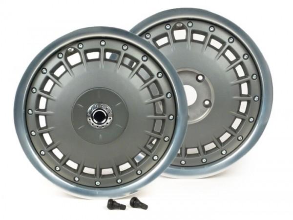 Par de llantas -PIAGGIO 3.00-12 pulgadas Vespa 946 - llanta plateado brillante, disco de llanta gris plateado mate