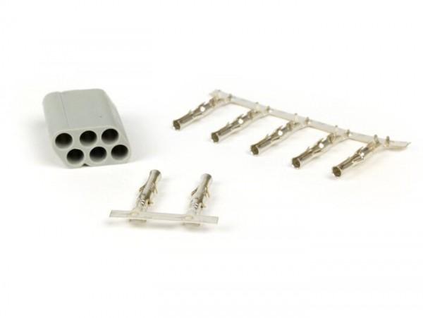 Plug for wiring harness -BGM PRO, 6 contact plugs- Vespa, Piaggio, Gilera - male plug
