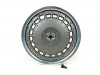 Felge -PIAGGIO 3.00-12 Zoll-Vespa 946 - vorne (auch passend für Vespa GT, GTL, GTS, GTV - ohne ABS) - Felgenring silber glänzend, Felgennabe silbergrau matt