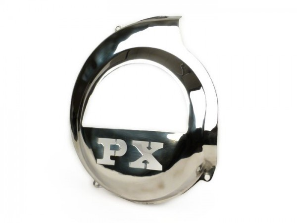 Flywheel cover -SPAQ- Vespa PX80, PX125, PX150, PX200 - lasercut -PX- stainless steel - models with kickstart only