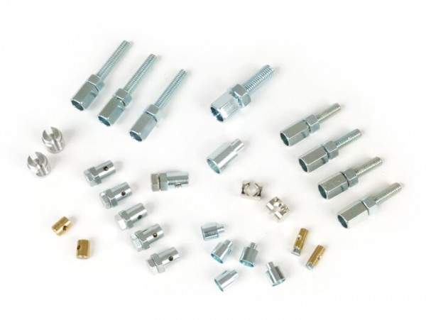 Adjuster screw and trunnion set -BGM ORIGINAL- Vespa PX, T5 125cc, Rally180 (VSD1T), Rally200 (VSE1T), Sprint150 (VLB1T), TS125 (VNL3T), GT125 (VNL2T), GTR125 (VNL2T), SS180 (VSC1T), GS160 / GS4 (VSB1T), GL150 (VLA1T), VNA, VBA, VBA, VBB, V50,