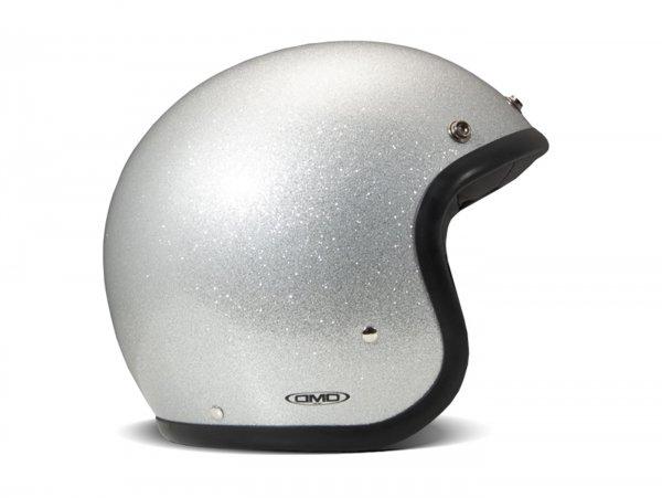Helmet -DMD Jet Vintage- open face helmet, vintage - Glitter Silver - S (55-56cm)