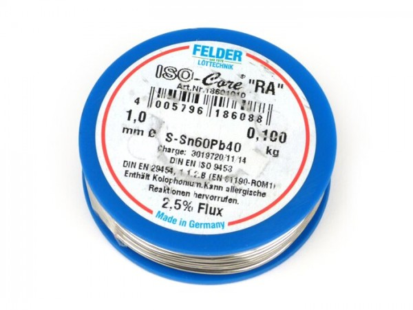"Bobina hilo soldar -FELDER- ISO-Core ""RA"" con plomo, (60%Sn 40%Pb) - Ø=1.0mm"