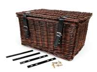 Basket - wicker basket with lid incl. Mounting set -OEM QUALITY 47x31x25cm- bicycle, scooter, vespa, moped e.g. PIAGGIO Ciao, SI, Bravo - Color: Brown