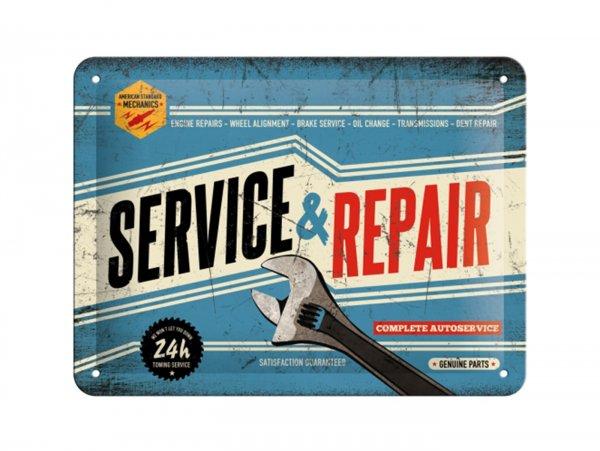 """Reklameschild -Nostalgic Art- """"Service & Repair"""", 15x20cm"""