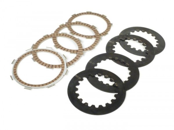 Clutch friction plate set incl. steel plates -BGM PRO SPORT Alu- type Honda CR80 suitable for standard clutch basket of type Vespa Cosa2/FL (1992-), PX (1995-), Superstrong, Scooter & Service, MMW, Ultrastrong- 4 friction plates