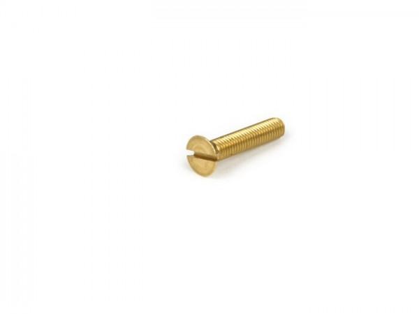 Schraube Linsen-Senkkopf -DIN 963- M5 x 25 - verwendet für Kabelkästchen Vespa Smallframe V50, 50N, PV, Gepäckhaken PX, T5, Rally, Sprint150, TS125, GT/GTR125, GL150, Super, V50, V90, SS50, SS90, PV, ET3 - verzinkt