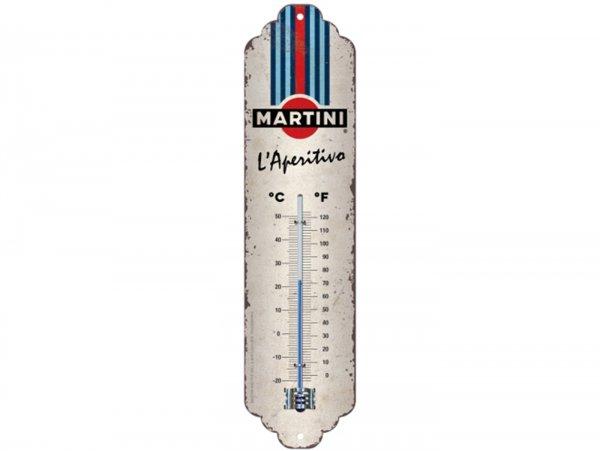 "Thermometer -Nostalgic Art- ""Martini - L'Aperitivo Racing Stripes"", 65x280mm"