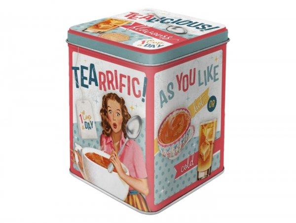 "Tea box -Nostalgic Art- ""Tealicious & Tearrific"", 7,5 × 7,5× 9,5cm"