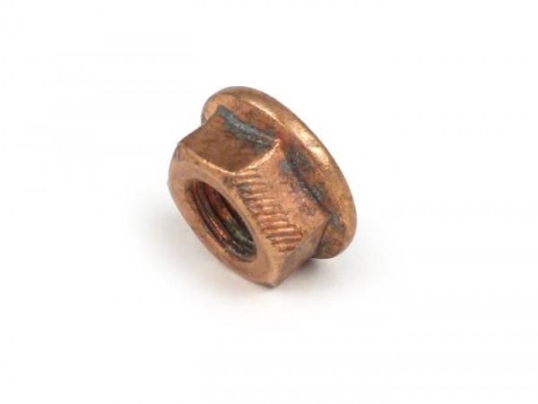 Mutter mit Flansch -DIN 6923 ähnlich- M8 (Quetschmutter) - Kupfer (verwendet für Auspuffkrümmer Vespa PX 2011)