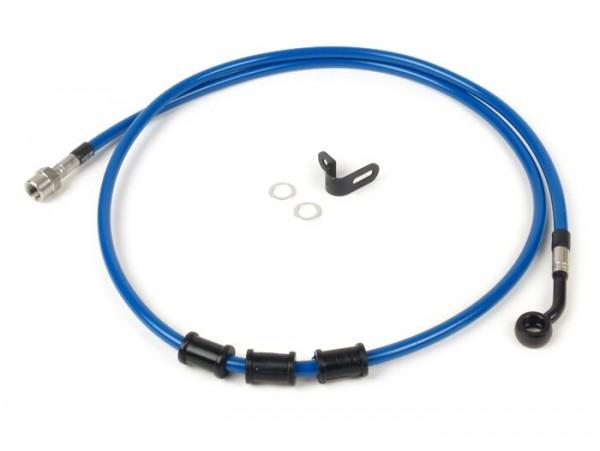 Tubería freno trasero, yendo a la pinza de freno original -SPIEGLER latiguillo: acero inoxidable (azul), racores: aluminio (negro)- Vespa (con ABS) GTS 125i.e. Super ABS (ZAPM45300, ZAPM45301), Vespa GTS 300 ABS (ZAPM45200, ZAPM45202), Vespa GTS 300i