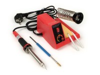 Soldering station -MLS-58 230V 58W soldering iron- 100-450° C, incl. soldering tools  - red