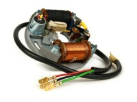 Zündung -VESPA Grundplatte (Kontaktzündung, 6V, 2 Spulen, kurze Kontakte)- Vespa V50 - 50  N, 50 L, 50 R, 50 Special (V5A2T, V5B1T) - innenliegende Zündspule