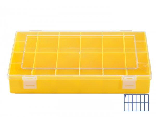 Sortierkasten -HÜNERSDORFF, Classic (225x335x55mm)- 12 Fächer, gelb, Polystyol