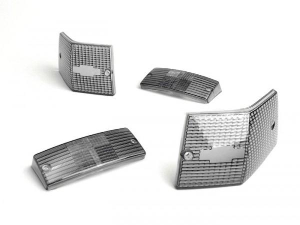 Blinkergläser -BGM ORIGINAL 4er Set- Vespa PX80, PX125, PX150, PX200, T5 125cc - Schwarz
