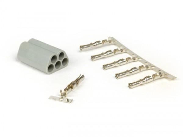 Plug for wiring harness -BGM PRO, 5 contact plugs- Vespa, Piaggio, Gilera - male plug