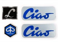 cornice per set di scritte -CIAO LUSSO alluminio, nero/blu- Piaggio Ciao Lusso