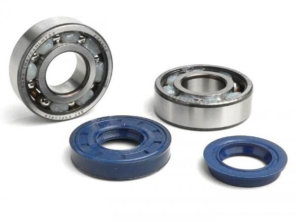 Kit rodamientos y retenes para cigüeñal -CIF (SKF 6204/C4 TN9 jaula de poliamida)- Minarelli 50cc
