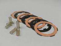 Juego discos de embrague -NEWFREN carbono- Vespa Smallframe - 4 discos tipo PK XL2 (muelles y separadores de embrague incl.)