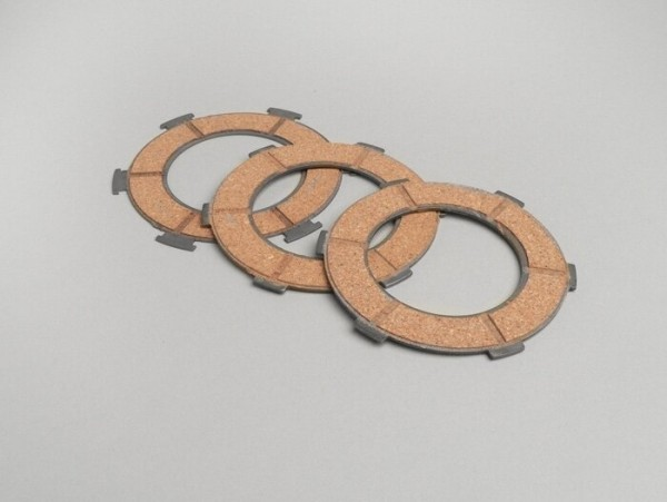 Clutch friction plate set -VESPA type 6 springs (PX80, PX125, PX150)- 3 friction plates premium quality