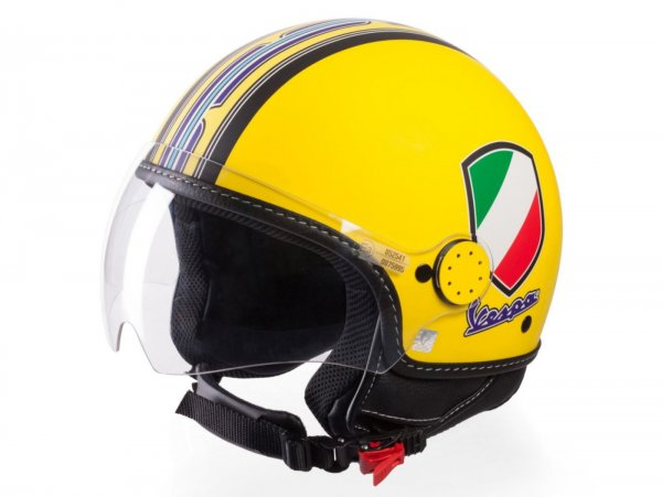 Helmet -VESPA  open face helmet V-Stripes- yellow purple (Casco Yellow)-  XL (61-62 cm)