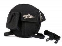 Bag for spare wheel holder (incl. cup holder) -MOTO NOSTRA Classic 'waxed canvas'- suitable for e.g. Vespa, Lambretta - black
