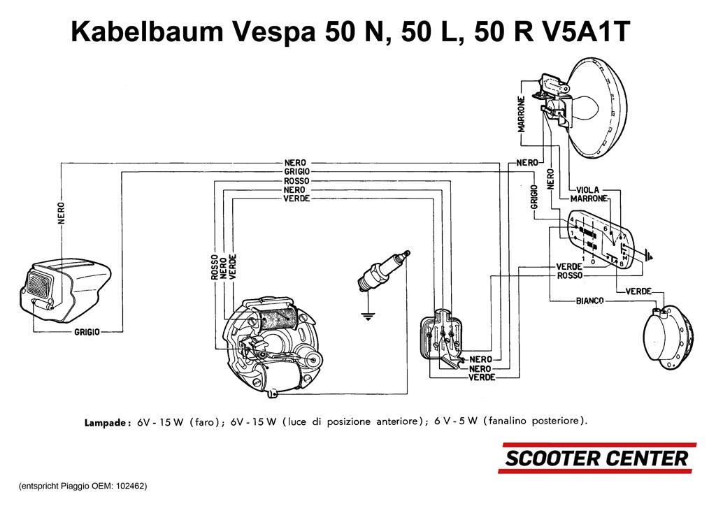Kabelbaum -GRABOR- Vespa V50 (V5A1T) - Zündgrundplatte mit 2-Spulen ...
