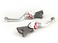 Pair of brake levers -PM TUNING Sport, adjustable- Vespa GT, GTL, GTS 125-300 - silver