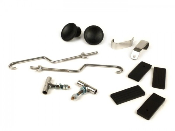 Repair set for rack foldable front -MOTO NOSTRA- Vespa Smallframe V50, PV125, ET3, Vespa Largeframe Rally180, Rally200, Sprint150, TS125, GT125, GTR125 - stainless steel