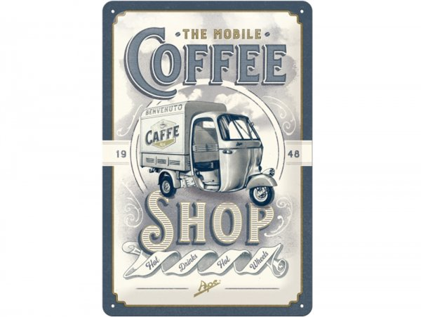 "Advertising sign -Nostalgic Art- Ape ""The mobile Coffee-Shop"", 20x30cm"