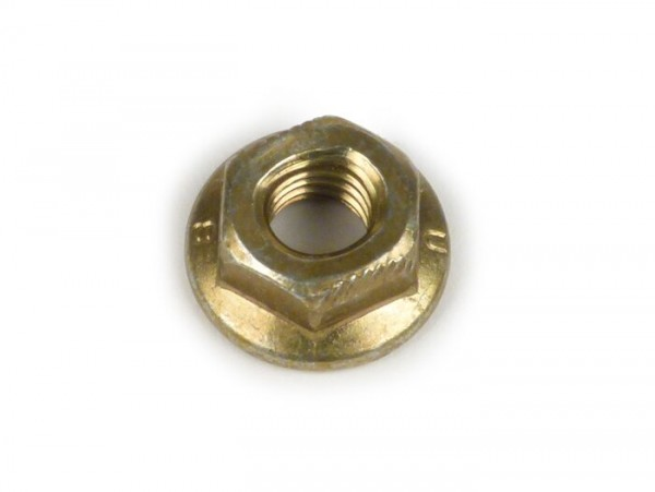 Nut with flange  -Piaggio- M6 (secure nut) - (used for central stand Vespa P-Range, PX, PE)