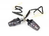 Pair of indicators -MOTO NOSTRA handlebar end indicator LED (E-mark), 6 volt- Vespa V50, 50SR, 50 Sprinter, 90SS, 90 Racer, PV125, ET3, Sprint150, Rally180/200 - black