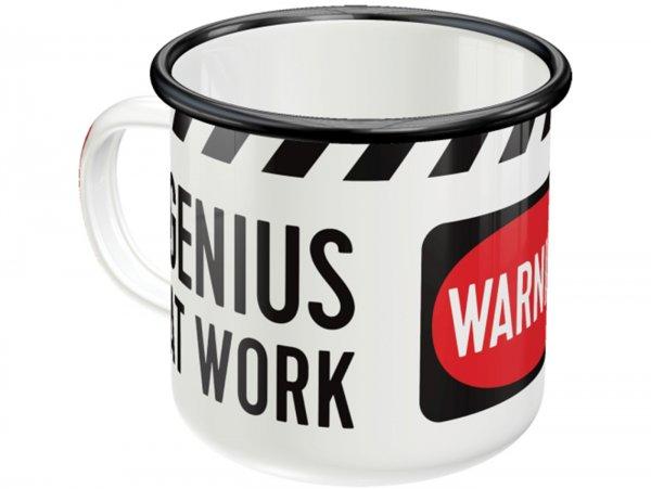 "Mug - Emaille -Nostalgic Art- ""Genius At Work"", Ø=8cm x 8cm, 360ml"