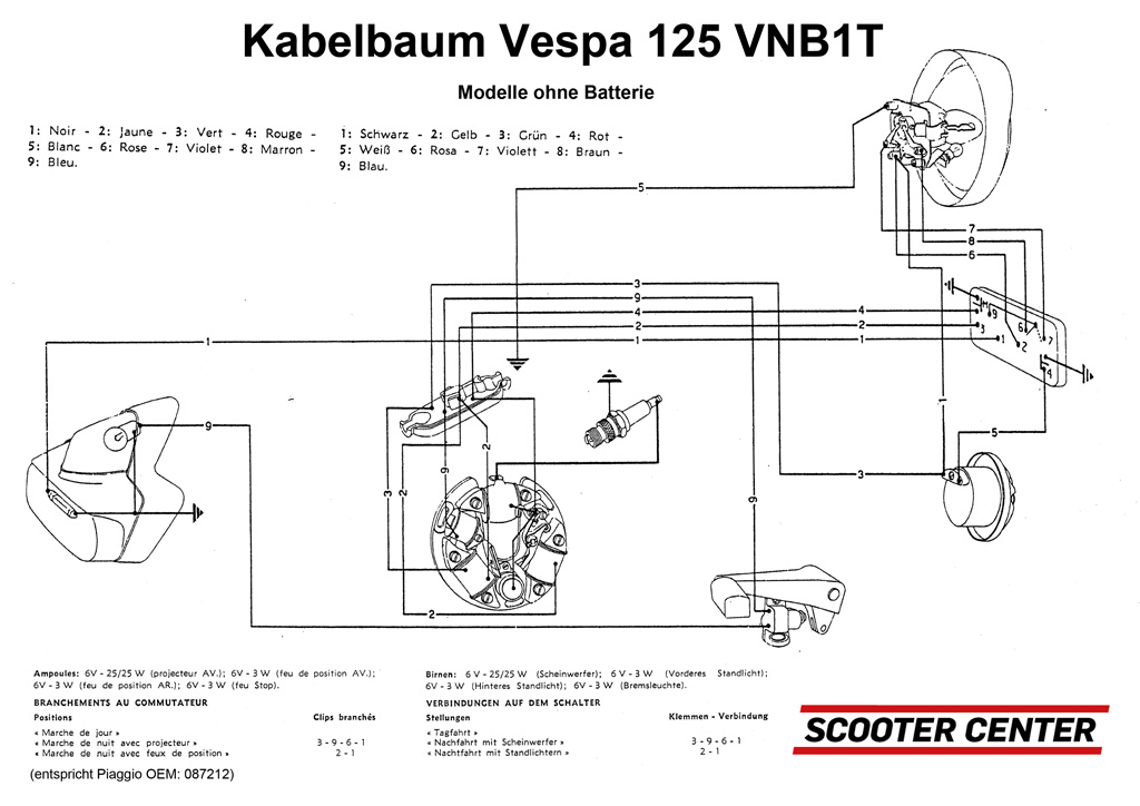 Wiring loom -VESPA- Vespa 125 VNB1T | Electrical equipment | Frame ...