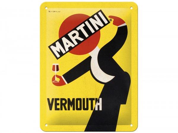 "Reklameschild -Nostalgic Art- ""Martini - Vermouth Waiter Yellow"", 15x20cm"
