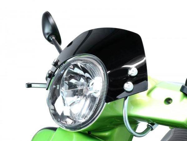 Windschutzscheibe mit verchromten Haltern -MOTO NOSTRA, b=340mm, h=105mm- Vespa GT, GTL, GTS, GTS Super 125-300ccm - schwarz getöntes Glas
