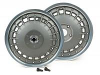 Felgen-Set -PIAGGIO 3.00-12 Zoll Vespa 946- passend für Vespa GT, GTL, GTS, GTV - ohne ABS - Felgenring silber glänzend, Felgennabe silbergrau matt
