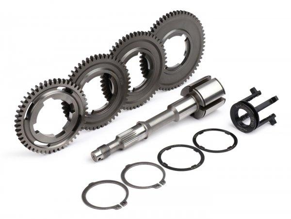 Gearbox -BENELLI type sport, serial gearing 1-3 + short 4th gear- Vespa V50, V90, 50N, PV125, ET3, SS50, SS90, PK S, PK XL1, PK XL2, ETS - (10/58, 14/54, 18/38, 22/48 teeth)