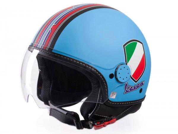 Helmet -VESPA  open face helmet V-Stripes- blue red (Casco Azure)-  M (57-58 cm)