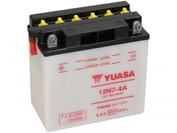 Batterie -Standard YUASA 12N7-4A- 12V, 7Ah - 135x75x135mm (ohne Säure)