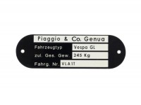 Targhetta identificativa -QUALITÀ OEM- Vespa Piaggio & Co Genua (80x25x0,5mm) - Vespa GL VLA1T
