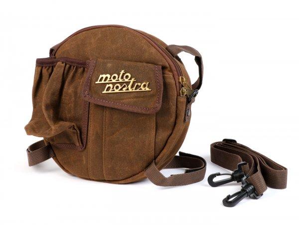 Tasche rund (Ø23cm) für Reserverad 10 Zoll / Umhängetasche (inkl. Getränkehalter) -MOTO NOSTRA Classic 'waxed canvas'- passend für z.B. Vespa, Lambretta - braun