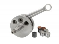 Crankshaft -PINASCO Racing, reed intake, full circle web, for Pinasco engine casing 8X, 51mm stroke, 97mm conrod- (Ø=20mm cone)
