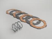 Clutch friction plate set -VESPA Smallframe V50, V90, SS50, SS90, PV125, ET3, PK50, PK80, PK50 S, PK80 S, PK125 S, PK50 XL, PK125 XL, ETS, PK50 HP, PK50 SS  - 4 plates (incl. spring and steel plates)