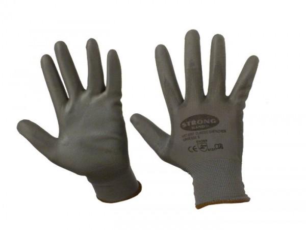 Gants de travail -STRONG HAND- en tricot fin, 100% nylon avec revêtement de polyuréthane - taille 8