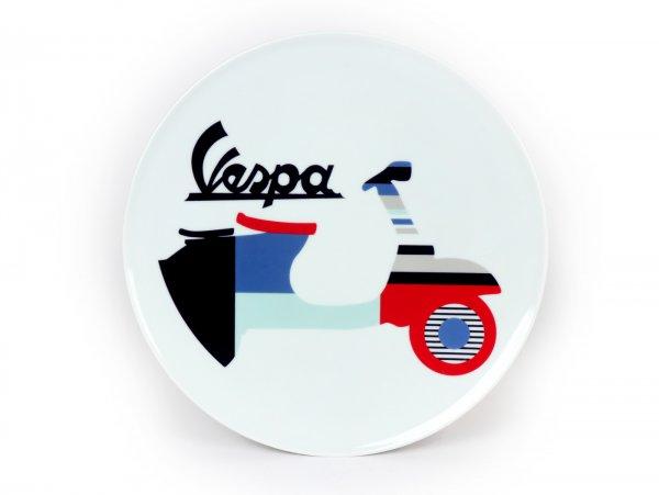Teller -Vespa 2 - Ø=32cm, weiß / blau, Keramik